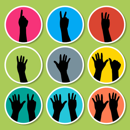 six point: Black hands counting from 1 to 9 with fingers icon illustration