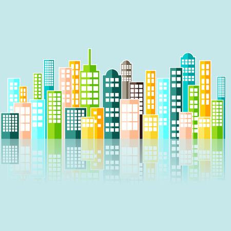 skyline city: Colorful Abstract City Skyline Vector.