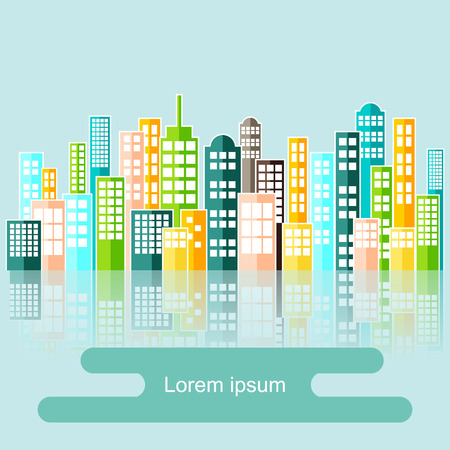 abstract city: Colorful Abstract City Skyline Vector.