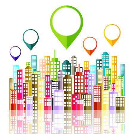 abstract city: Colorful Abstract City Skyline Vector Illustration