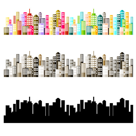 color design: Colorful Abstract City Skyline Vector Illustration
