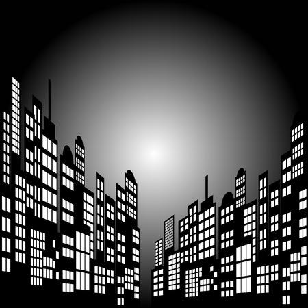Art-Karikatur-Nacht-Stadt-Skyline Hintergrund. Illustration