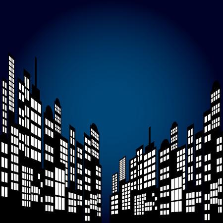 graphic novel: Style Cartoon Night City Skyline Background.