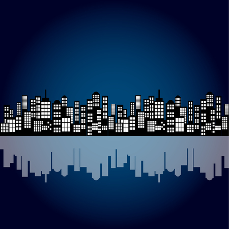 back ground: Style Cartoon Night City Skyline Background.