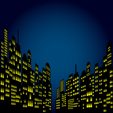 Style Cartoon Night City Skyline Background. 向量圖像