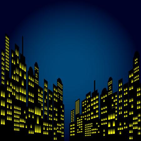 novel: Style Cartoon Night City Skyline Background.
