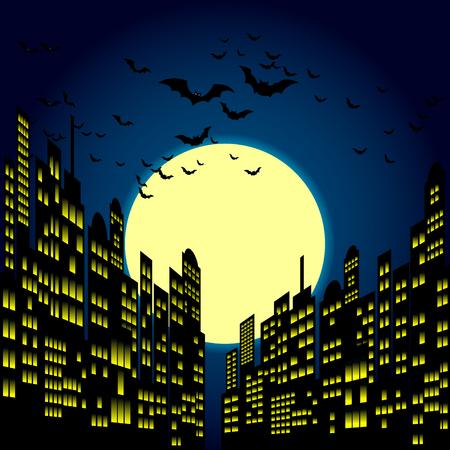 スタイル漫画夜の街のスカイラインの背景。
