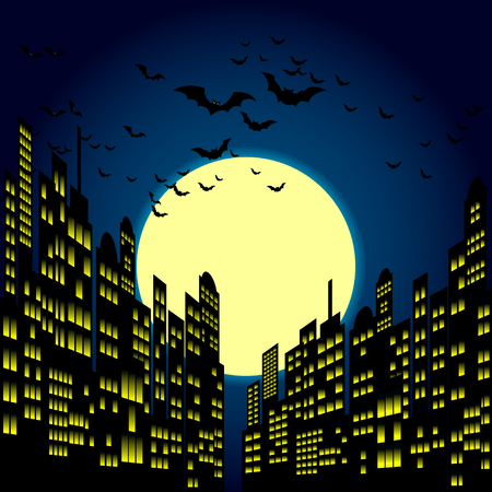 comic book character: Style Cartoon Night City Skyline Background.
