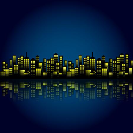 Fond style Nuit Cartoon City Skyline. Illustration