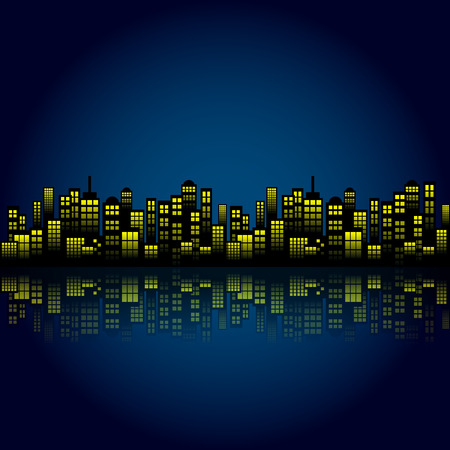 Style Cartoon Night City Skyline Background.