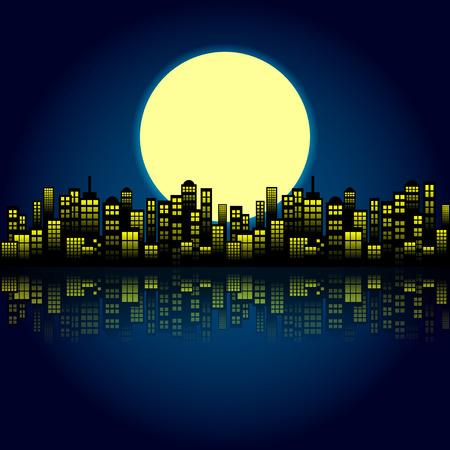 Style Cartoon Night City Skyline Background.