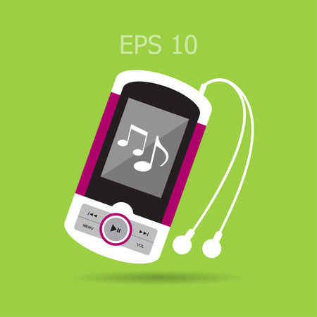 Music player with headphones. Illustration