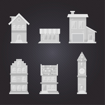 gray scale: Building Flat Gray scale. Illustration