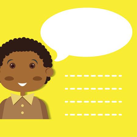 preschool child: Boy with speech bubble.