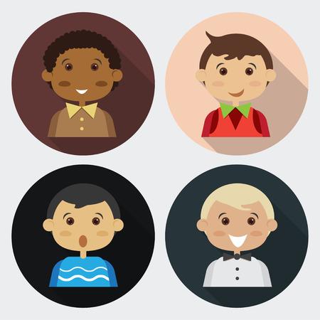 four people: Cartoon boy four people.