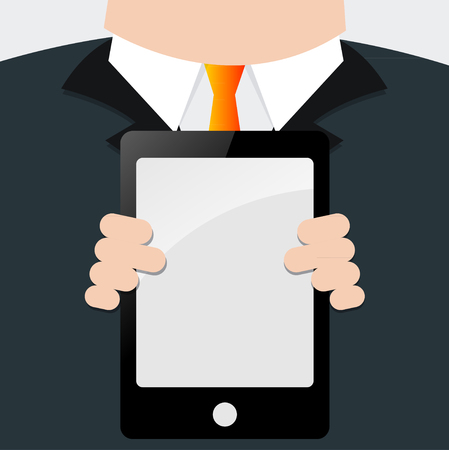 blank poster: Businessman holding signs For text input.