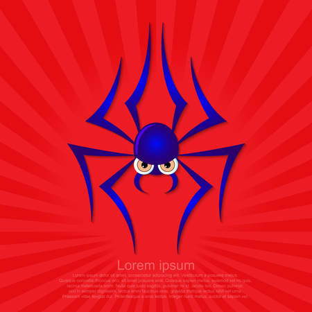 Spider graphic on a red background.