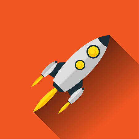 Cartoon flat rocket with flame. Vector illustrator EPS 10 Illustration