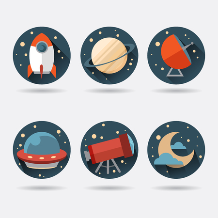 illustrator 10: Flat Space Icons. Vector illustrator EPS 10