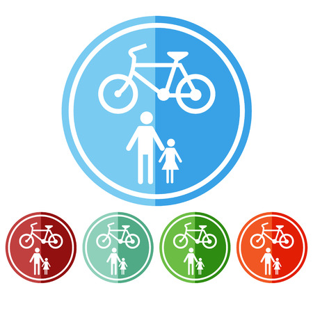 allow: Sign allow only pedestrians and bicycles.