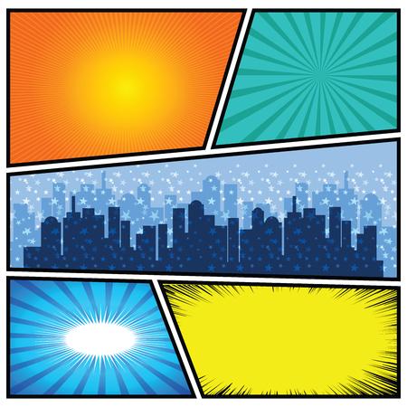 text books: Comics Template. Vector Comic Book Illustration.