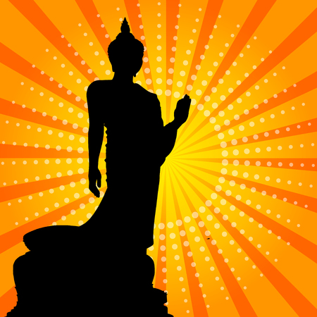 buddha statue: Silhouette of a Thai Buddha. Illustration