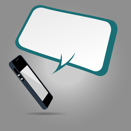using smart phone: Mobile phone with speech bubbles. Illustration