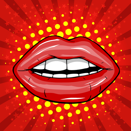 lady in red: Sweet pair of glossy lips. Illustration