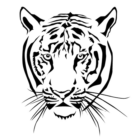 bengal: Tiger head, black and white, vector EPS10