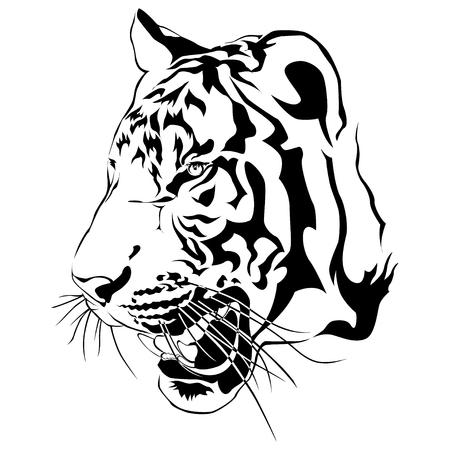 Tijger hoofd, zwart-wit, vector EPS10