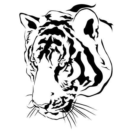 Tiger head, black and white, vector EPS10
