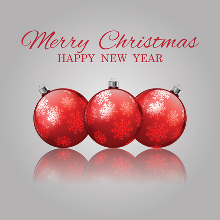 christmas and happy nwe year invitation with christmas balls