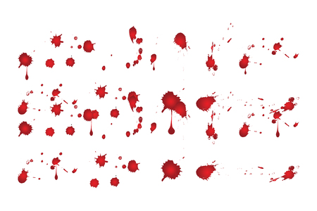 Blood splatters on white background. Vector illustration.