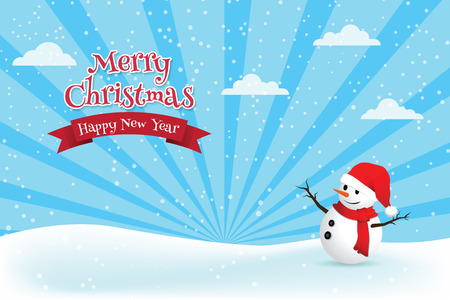 Christmas greeting card with snowman vector illustration.