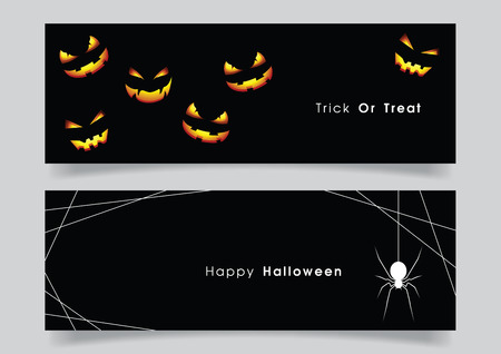 Banner set with Halloween pumpkin and spider. Illustration
