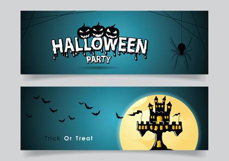 Banner met Halloween-spin en spookkasteel en vleermuis.