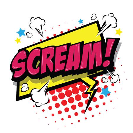 Scream! Comic Speech Bubble, Cartoon. art and illustration vector file. Vektorové ilustrace
