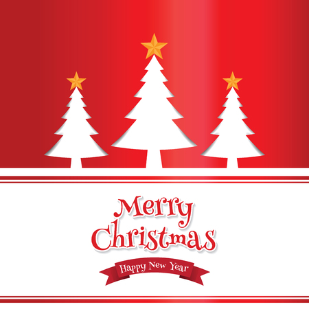 Merry christmas celebration card tree background.