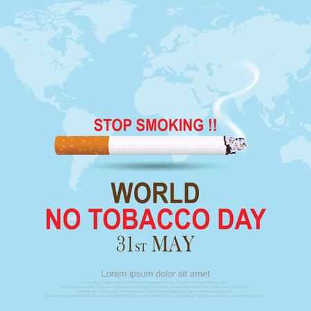 Smettere di fumare. Giornata mondiale senza tabacco. illustrazione vettoriale Eps 10.