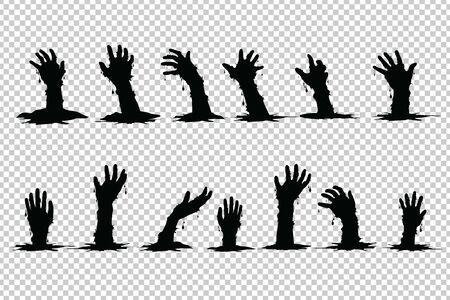 Fantasmi a mano che salgono dalla tomba Halloween su sfondo trasparente. Vettoriali