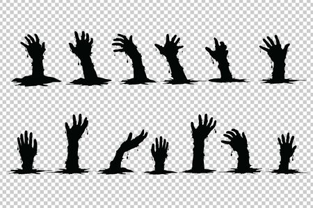 Hand ghosts rising from the grave Halloween on Transparent background. Vector Illustration