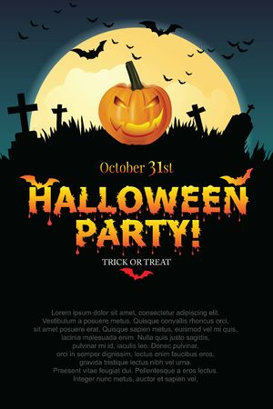 Halloween party poster with Pumpkin ghost. Фото со стока - 137967342