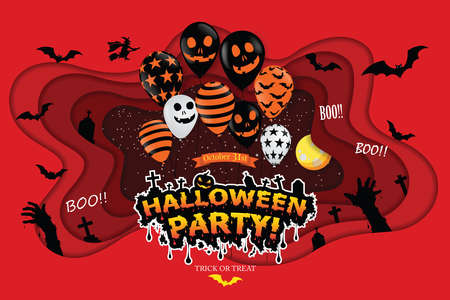 Happy Halloween festive abstract background, Scary air balloons, moon. Holiday party invitation. illustrator vector Eps10