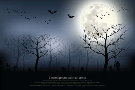 Halloween background. Spooky forest with full moon and grave.