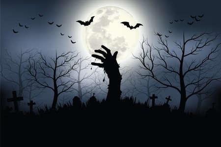 Zombie hands rising in dark Halloween night. Vector illustrator