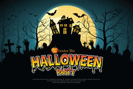 Castle, haunted house and ghost hands, tomb on full moon night. illustrator Vector
