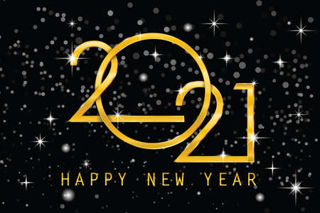 2021 Happy New Year elegant design - vector illustration of golden 2021 numbers on balck background - perfect typography for 2021 save the date luxury designs and new year celebration.