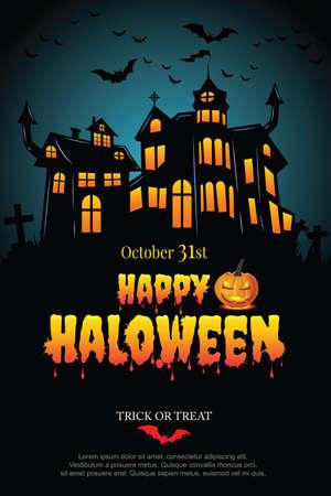 Halloween party poster with Haunted castle. illustrator Vector Ilustración de vector
