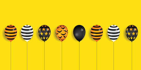 Happy halloween party banner with balloons decoration On yellow background. Illustrator Vector Eps 10.