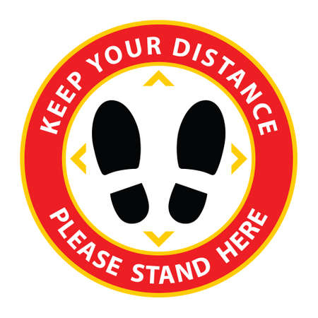Social distancing, Please Stand Here, Keep Your Distance Floor Sticker for stores and supermarkets to help reduce the spread of virus